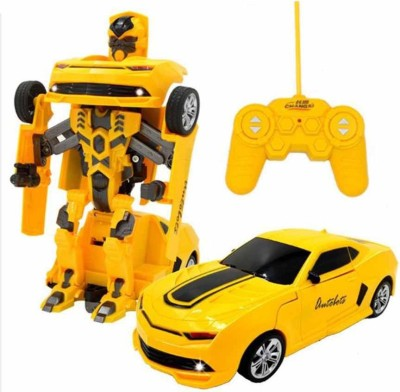 Gift World RC Transformation Toys One key Remote Control Car Bumblebee 360 Rotation(Yellow)