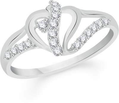 VK Jewels Lining Heart Alloy Cubic Zirconia Rhodium Plated Ring