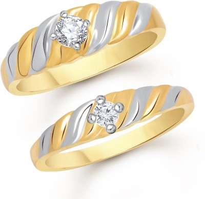 VK Jewels Single Stone Alloy Cubic Zirconia Gold-plated Plated Ring Set