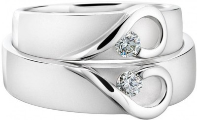 SMBros Couple Band Sterling Silver Cubic Zirconia Platinum Plated Ring at flipkart