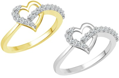 Vighnaharta Valetine Selfie Alloy Cubic Zirconia 18K Yellow Gold Plated Ring Set at flipkart