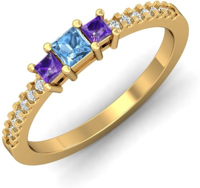 P.N.Gadgil Jewellers Hip Hop Multi Stone 18kt Aquamarine, Amethyst, Diamond Yellow Gold ring(Yellow Gold Plated) at flipkart