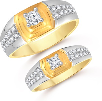 VK Jewels Dual Tone Couple Alloy Cubic Zirconia 18K Yellow Gold Plated Ring Set