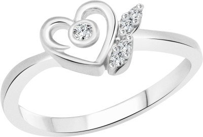 Vighnaharta White Lovely Heart Alloy Cubic Zirconia 18K Yellow Gold Plated Ring