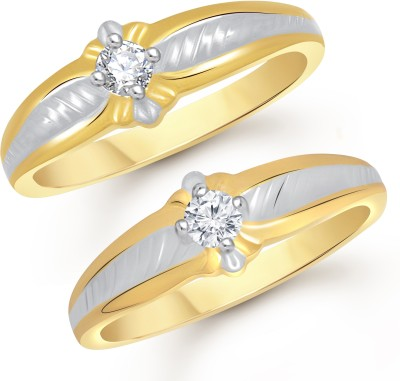 VK Jewels Gorgeous Single Stone Couple Alloy Cubic Zirconia Gold-plated Plated Ring Set
