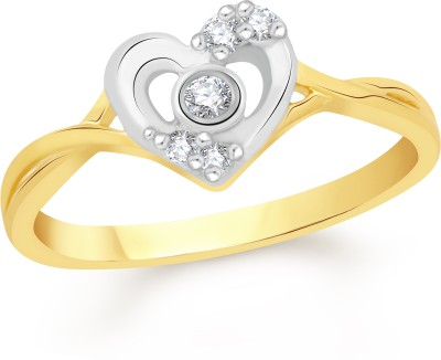 VK Jewels Open Heart Alloy Cubic Zirconia 18K Yellow Gold Plated Ring