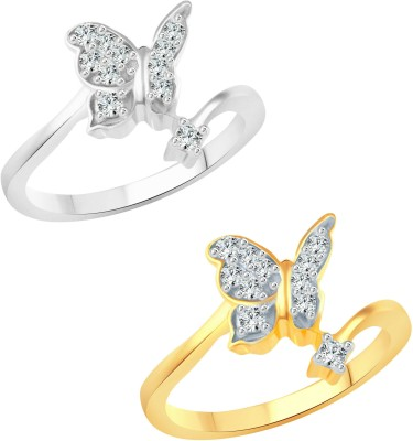 Vighnaharta Angel Butterfly Selfie Alloy Cubic Zirconia Rhodium Plated Ring Set at flipkart