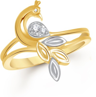 VK Jewels Feathers of Peacock Alloy Cubic Zirconia 18K Yellow Gold Plated Ring at flipkart