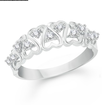 VK Jewels Dual Heart Alloy Cubic Zirconia Rhodium Plated Ring