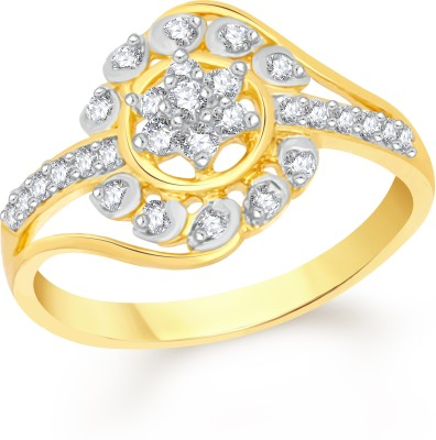 VK Jewels Ideal Flower Alloy Cubic Zirconia 18K Yellow Gold Plated Ring