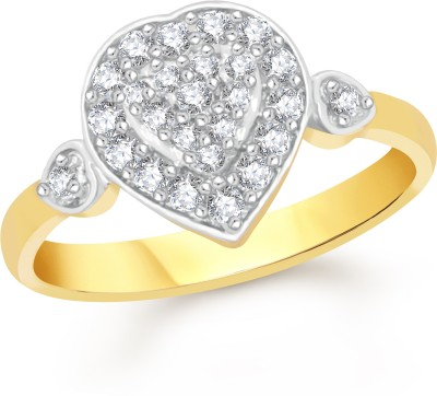 VK Jewels Heart Alloy Cubic Zirconia 18K Yellow Gold Plated Ring