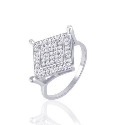 VK Jewels Square Shape Rhodium Plated Alloy Cubic Zirconia Ring