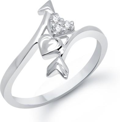 VK Jewels Arrow Heart Alloy Cubic Zirconia Rhodium Plated Ring