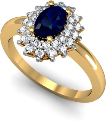 Rasav Jewels 18kt Sapphire, Diamond Yellow Gold ring(Yellow Gold Plated) at flipkart