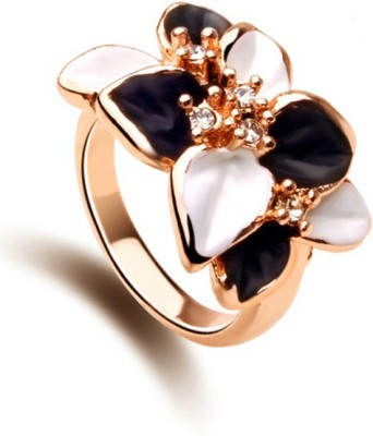 University Trendz UNIV_R004 Alloy Crystal 18K Rose Gold Plated Ring