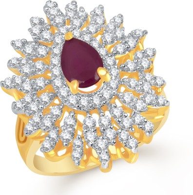 VK Jewels Imperial Aura Alloy Cubic Zirconia Yellow Gold Plated Ring at flipkart