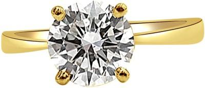 Surat Diamond 0.11ct Round S-U/I1 Engagement Delight Yellow Gold Diamond Gold Plated Ring at flipkart