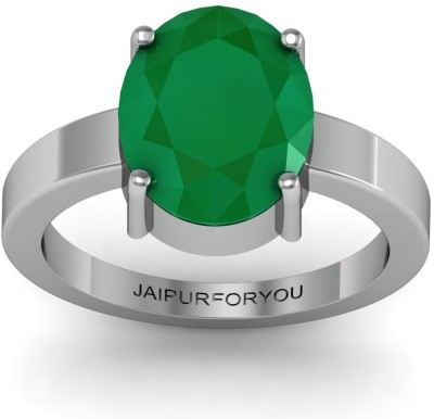 Jaipurforyou Certified Emerald Panna 12.0 cts or 13.25 ratti Silver Emerald Ring at flipkart