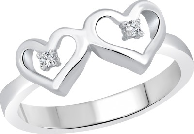 Vighnaharta Double Heart Alloy Cubic Zirconia 18K Yellow Gold Plated Ring