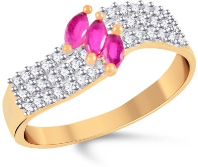VK Jewels Alloy Cubic Zirconia 18K Yellow Gold Plated Ring