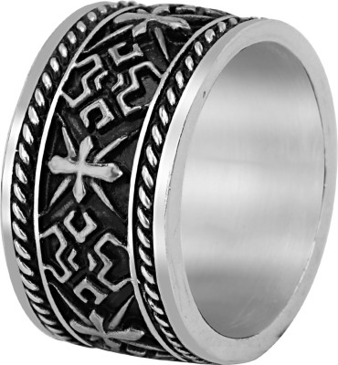 Vaishnavi Latest Antique Design Stylish UNISEX Thumb r Finger Stainless Steel Sterling Silver Plated Ring at flipkart
