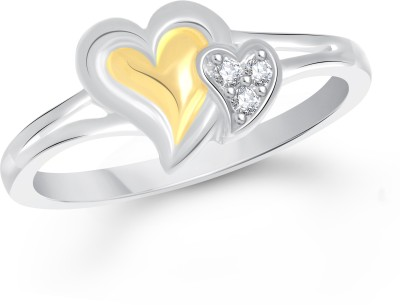 VK Jewels Dual Little Heart Alloy Cubic Zirconia 18K Yellow Gold Plated Ring