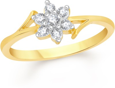 VK Jewels Simple Flower Alloy Cubic Zirconia 18K Yellow Gold Plated Ring