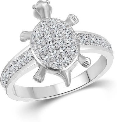 Vighnaharta Micro Tortoise Alloy Cubic Zirconia 18K White Gold Plated Ring at flipkart