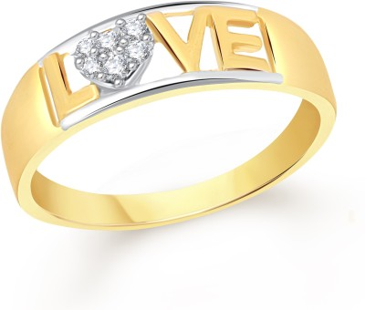 VK Jewels Heart with Love Alloy Cubic Zirconia 18K Yellow Gold Plated Ring