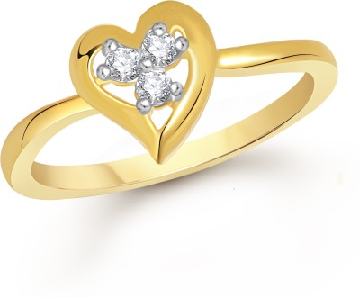 VK Jewels Three Stone Heart Alloy Cubic Zirconia 18K Yellow Gold Plated Ring
