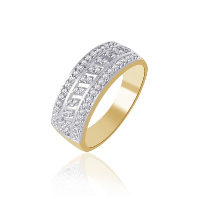 VK Jewels Togetherness Heart Alloy Cubic Zirconia 18K Yellow Gold Plated Ring