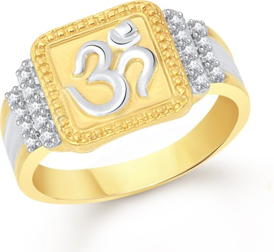 VK Jewels Divine Om Alloy Cubic Zirconia 18K Yellow Gold Plated Ring