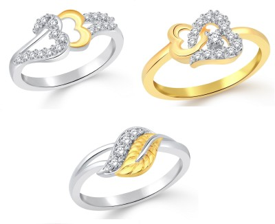 Classic Lovely Leaf Combo for Women Alloy Cubic Zirconia Yellow Gold, White Gold Plated Ring at flipkart