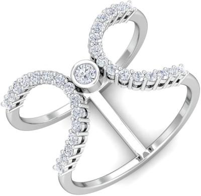 KuberBox Classic Open Ring 14kt Diamond White Gold ring(White Gold Plated) at flipkart