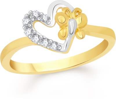 VK Jewels Heart in Heart Alloy Cubic Zirconia 18K Yellow Gold Plated Ring