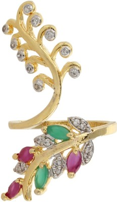 Moda Stella American Diamond 24 Karat Gold Plated Adjustable Ruby & Panna Looking Ladies Ring Brass 24K Yellow Gold, Rhodium Plated Ring  available at flipkart for Rs.149