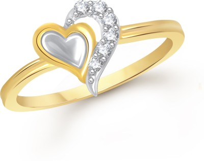 VK Jewels Ultimate Love Heart Alloy Cubic Zirconia Yellow Gold Plated Ring at flipkart