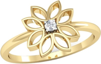 Kataria Jewellers The Zuria BIS Hallmarked Gold 14kt Diamond Yellow Gold ring(Yellow Gold Plated) at flipkart