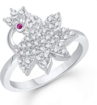 VK Jewels Ravishing Mayur Alloy Cubic Zirconia Rhodium Plated Ring at flipkart