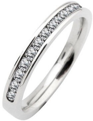 Inox Jewelry Channel Set Half Eternity Stainless Steel Cubic Zirconia Ring