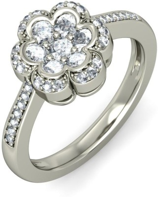 Amogh Jewels Sterling Silver Diamond 14K White Gold Plated Ring at flipkart