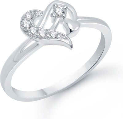 VK Jewels Sterling Heart Alloy Cubic Zirconia Rhodium Plated Ring