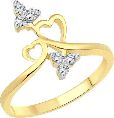 Vighnaharta Lovely Double Heart Alloy Cubic Zirconia 18K Yellow Gold Plated Ring