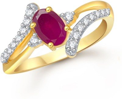 Meenaz Royal Designer Ruby & White Alloy Cubic Zirconia Ring at flipkart