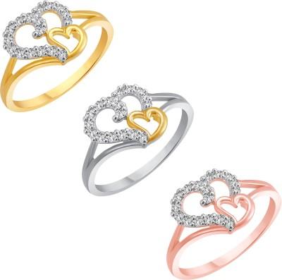 Vighnaharta Multi Colour Couple Heart Selfie Alloy Cubic Zirconia 18K White Gold Plated Ring Set at flipkart