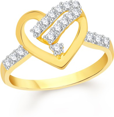 VK Jewels Alloy Cubic Zirconia 18K Yellow Gold Plated Ring at flipkart
