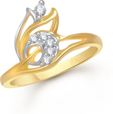 VK Jewels Radiant Leaf Alloy Cubic Zirconia Yellow Gold Plated Ring at flipkart