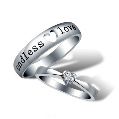 Yellow Chimes 'Endless Love' Alloy Crystal Sterling Silver Plated Ring Set at flipkart