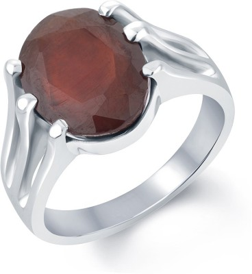 G-Luck Gomed Stone Weight - 8.1 Carat / 9.53 Ratti Silver Garnet Ring at flipkart