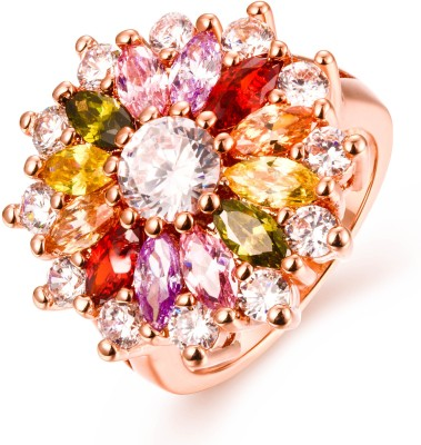 Yellow Chimes Sparkling Glamourously Swiss Zircon Alloy Rose Gold Plated Ring at flipkart